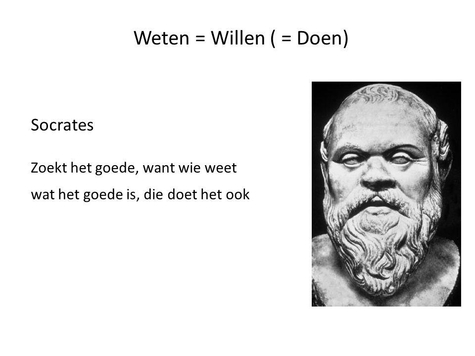 Weten = Willen ( = Doen) Socrates Zoekt het goede, want wie weet