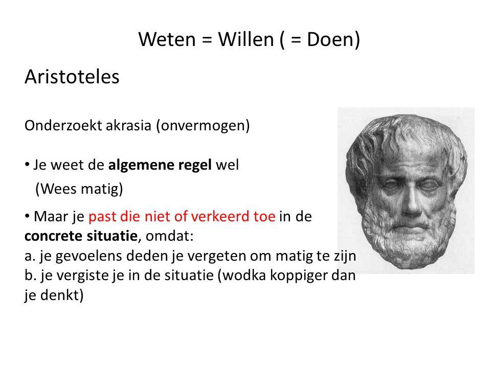 Weten = Willen ( = Doen) Aristoteles Onderzoekt akrasia (onvermogen)