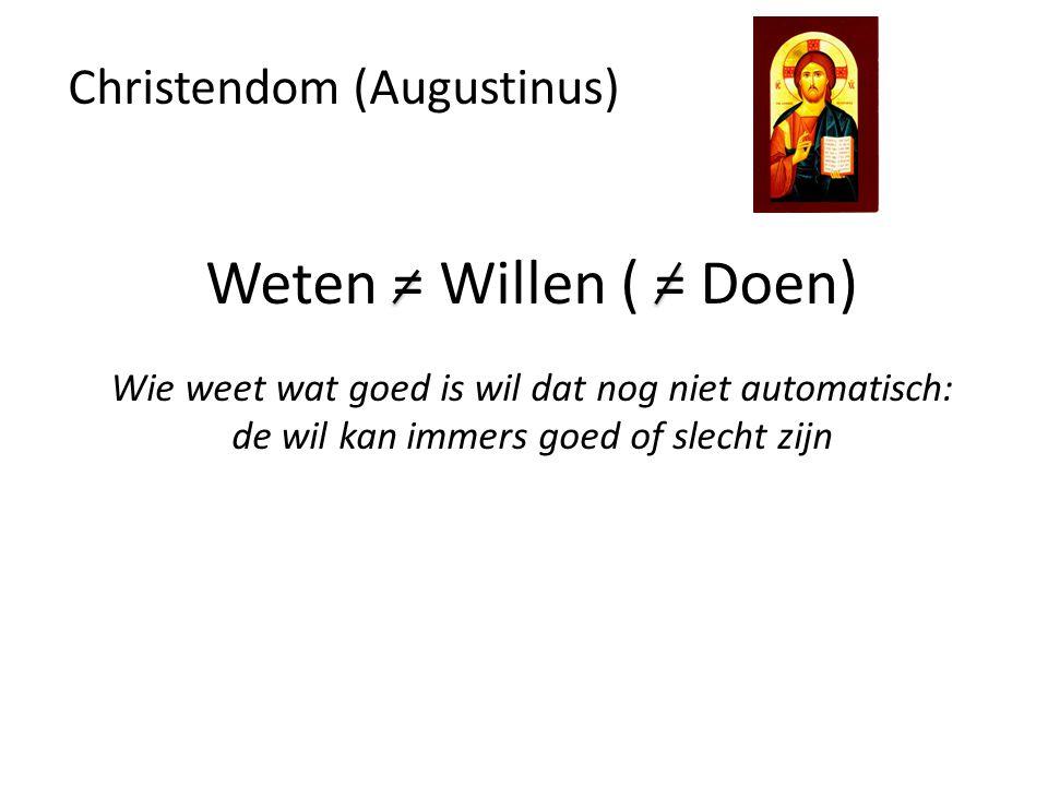 Weten = Willen ( = Doen) Christendom (Augustinus)