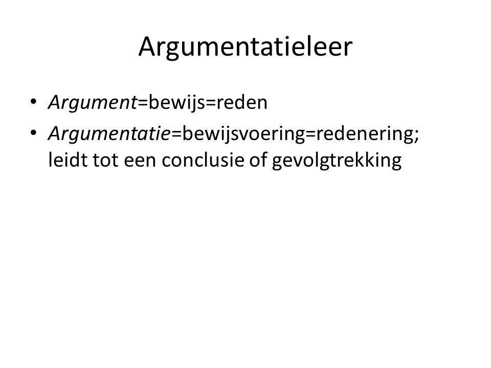 Argumentatieleer Argument=bewijs=reden
