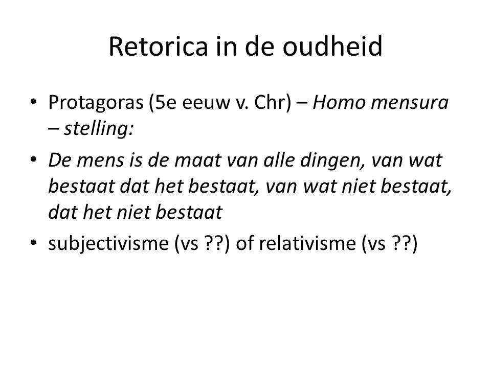 Retorica in de oudheid Protagoras (5e eeuw v. Chr) – Homo mensura – stelling:
