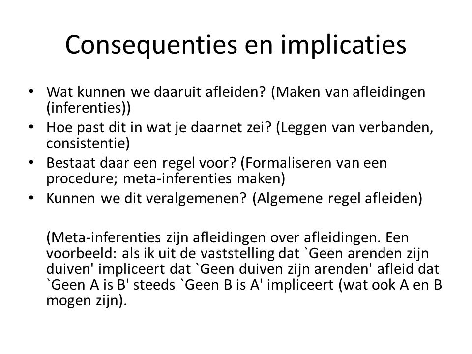Consequenties en implicaties