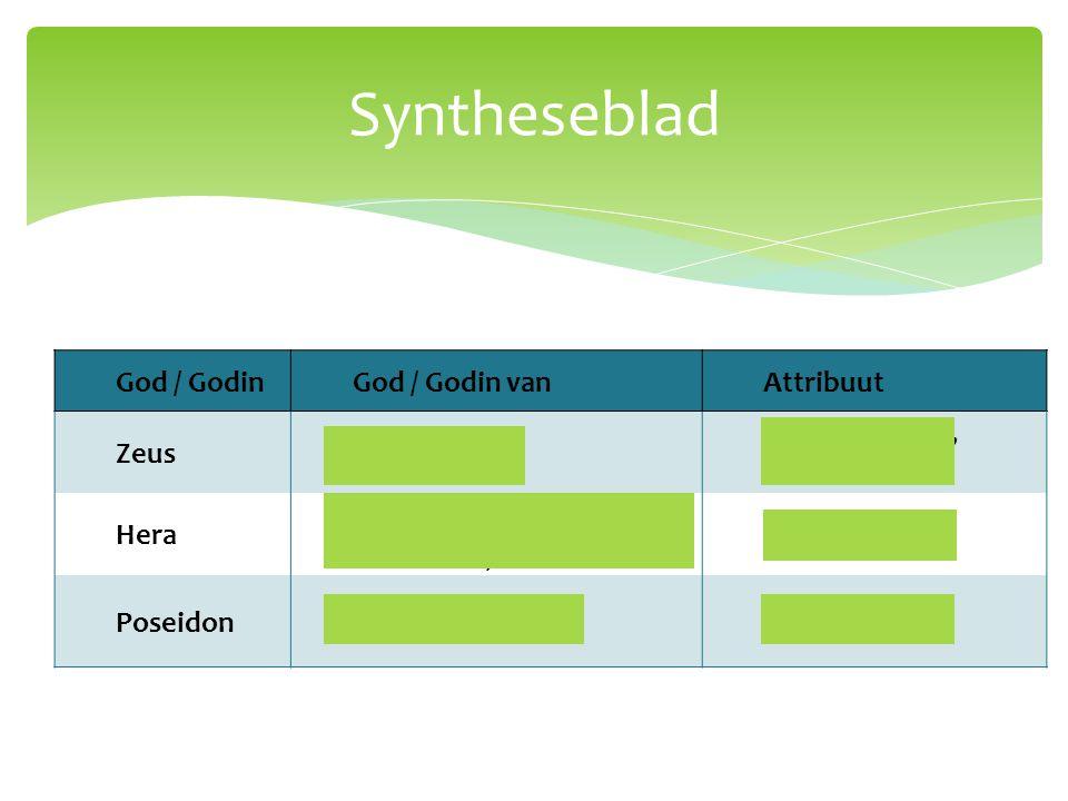 Syntheseblad God / Godin God / Godin van Attribuut Zeus Oppergod