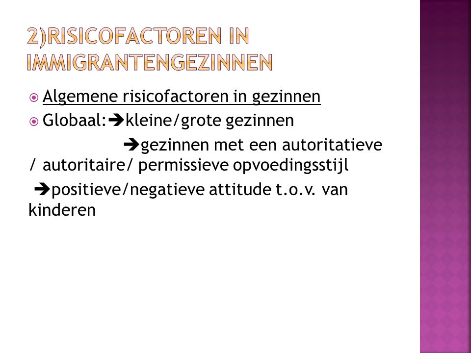 2)Risicofactoren in immigrantengezinnen