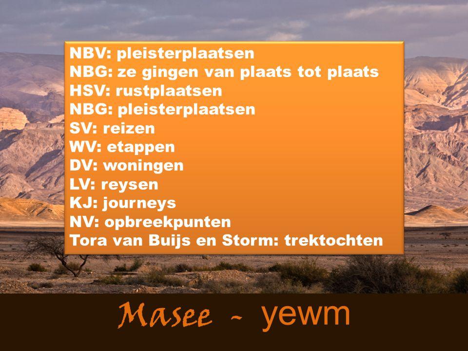 Masee - yewm NBV: pleisterplaatsen