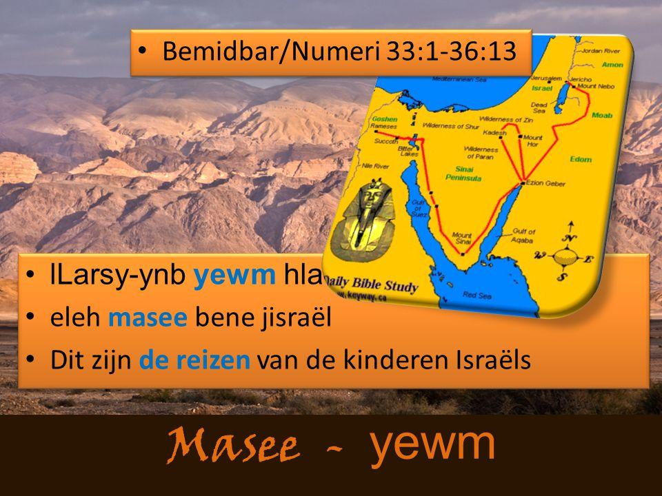 Bemidbar/Numeri 33:1-36:13 lLarsy-ynb yewm hla eleh masee bene jisraël.
