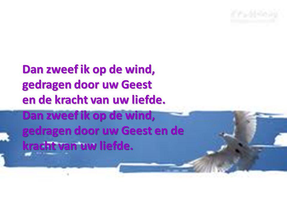Dan zweef ik op de wind, gedragen door uw Geest en de kracht van uw liefde.