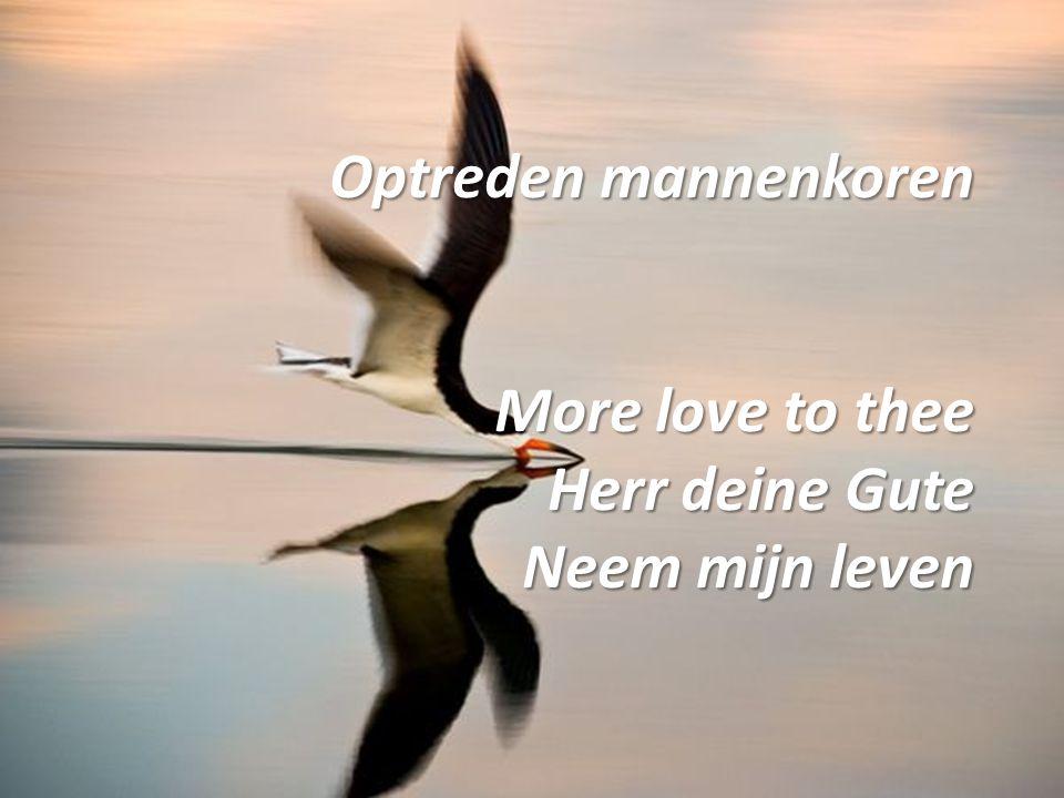 Optreden mannenkoren More love to thee Herr deine Gute Neem mijn leven