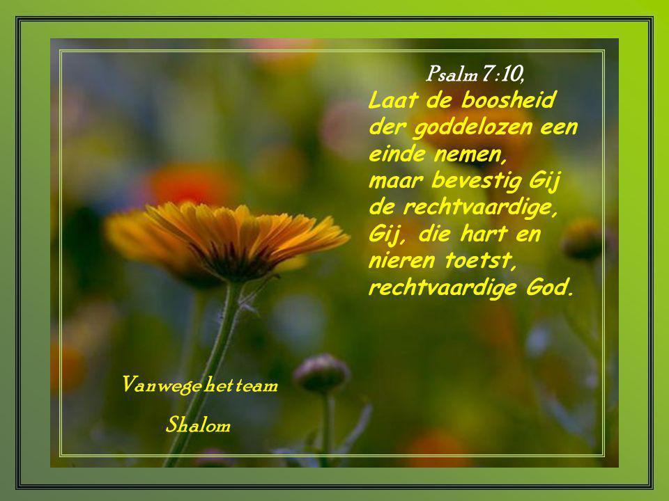 Psalm 7 : 10, Laat de boosheid der goddelozen een einde nemen, maar bevestig Gij de rechtvaardige,