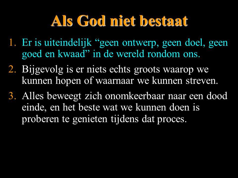 Als God niet bestaat Er is uiteindelijk geen ontwerp, geen doel, geen goed en kwaad in de wereld rondom ons.
