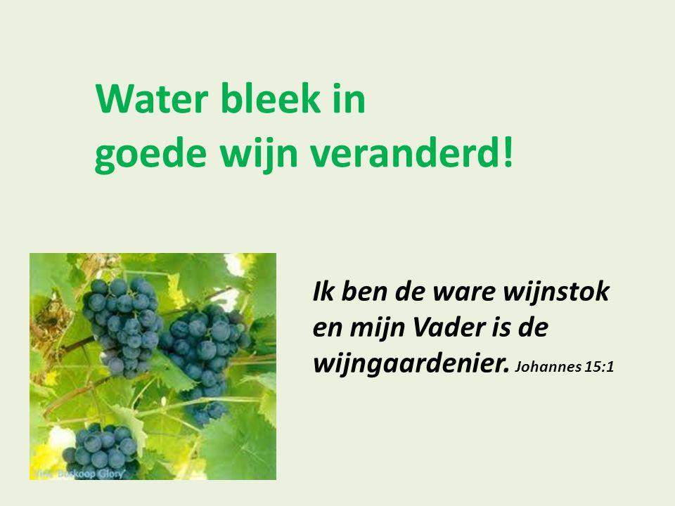 Water bleek in goede wijn veranderd!