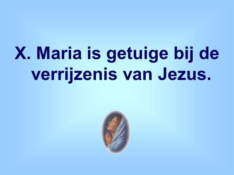 X. Maria is getuige bij de verrijzenis van Jezus.