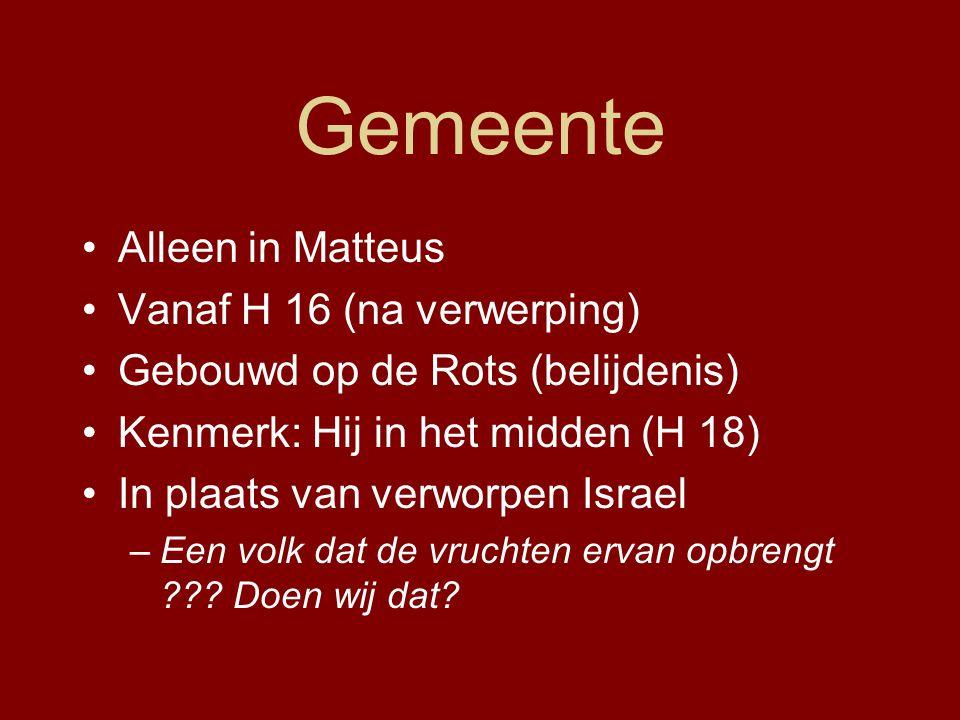Gemeente Alleen in Matteus Vanaf H 16 (na verwerping)