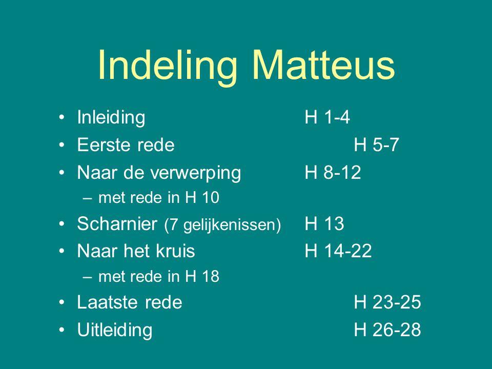 Indeling Matteus Inleiding H 1-4 Eerste rede H 5-7