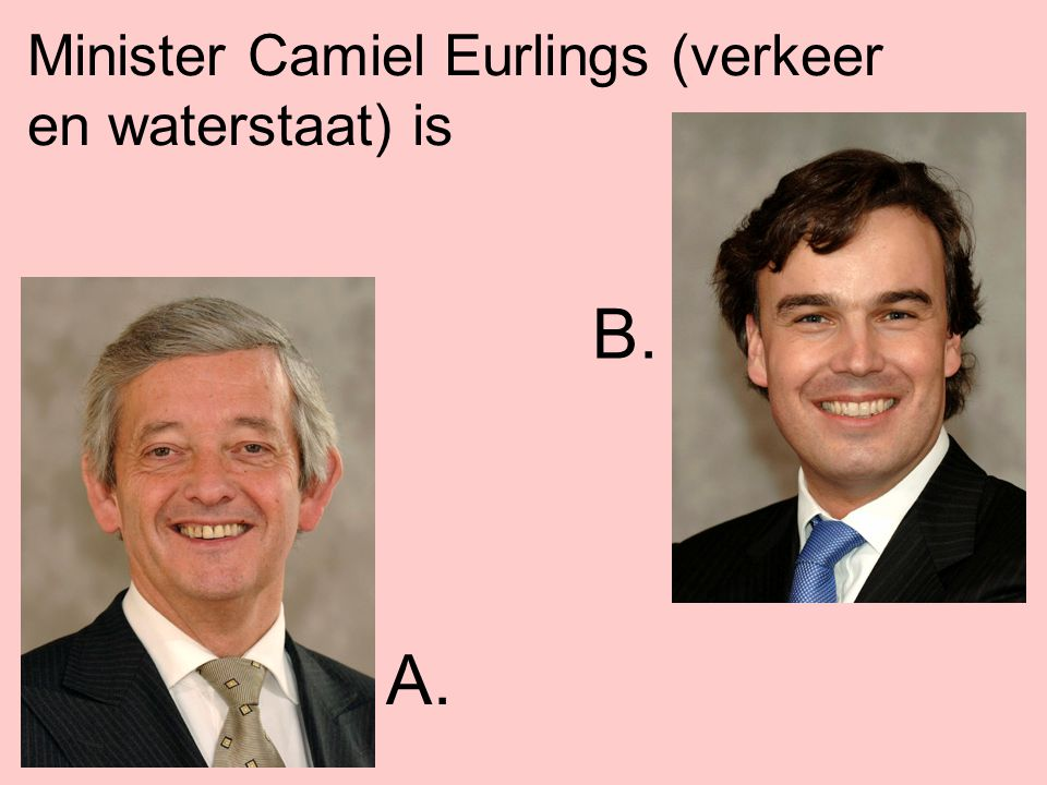 Minister Camiel Eurlings (verkeer en waterstaat) is