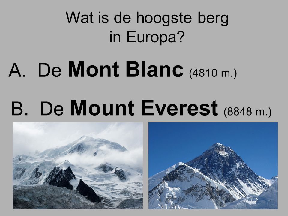 Wat is de hoogste berg in Europa