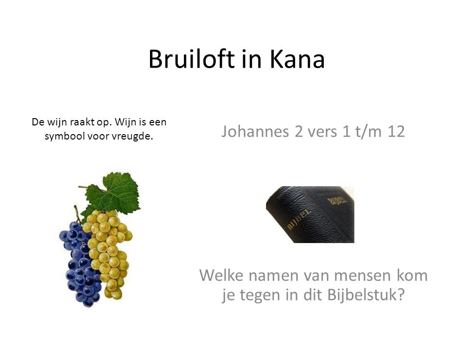 Bruiloft in Kana Johannes 2 vers 1 t/m 12