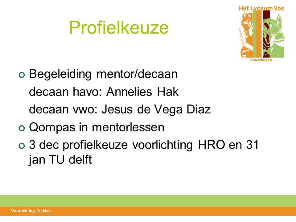 Profielkeuze Begeleiding mentor/decaan decaan havo: Annelies Hak