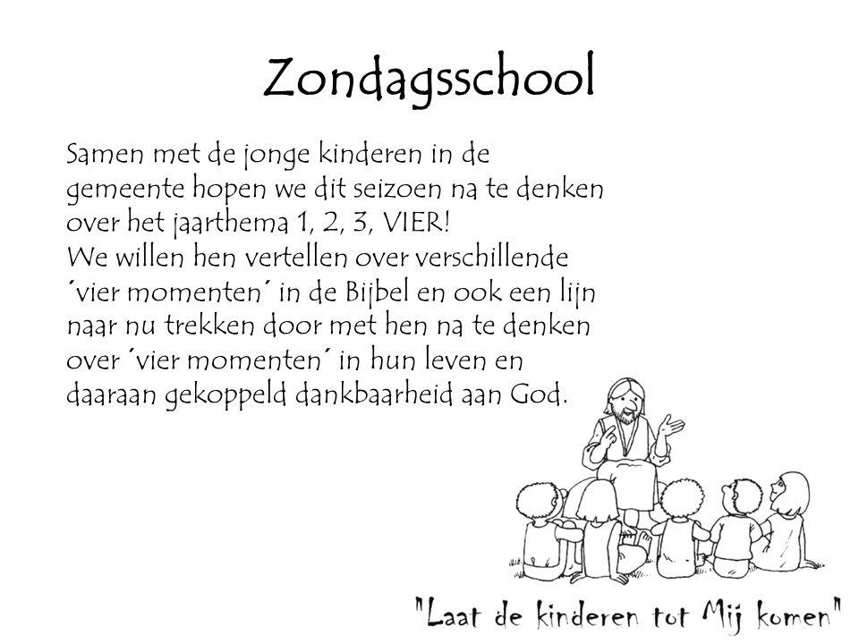 Zondagsschool Samen met de jonge kinderen in de gemeente hopen we dit seizoen na te denken over het jaarthema 1, 2, 3, VIER!
