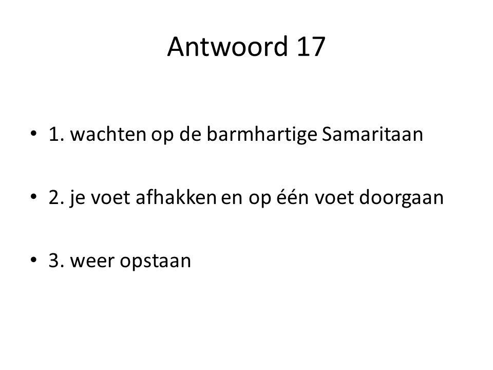 Antwoord 17 1. wachten op de barmhartige Samaritaan