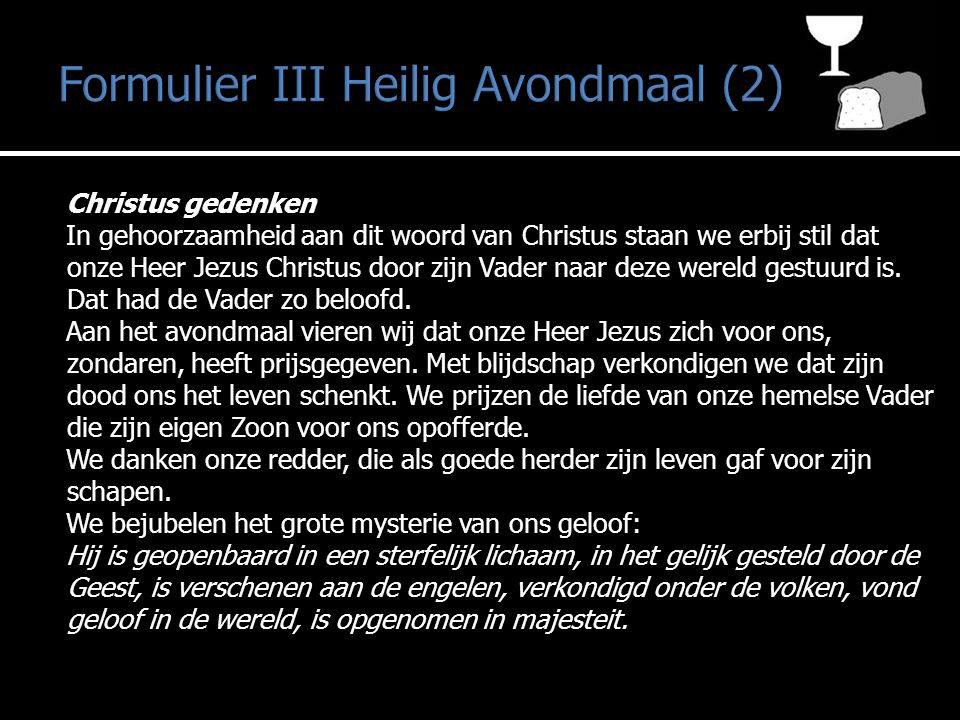 Formulier III Heilig Avondmaal (2)