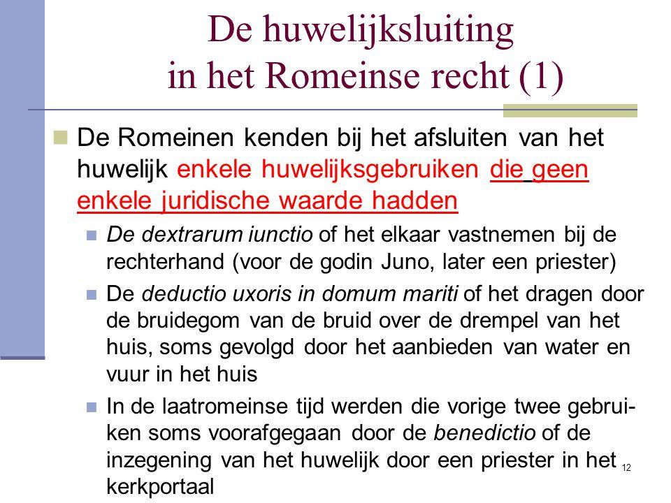 De huwelijksluiting in het Romeinse recht (1)