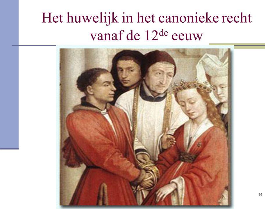 Het huwelijk in het canonieke recht vanaf de 12de eeuw
