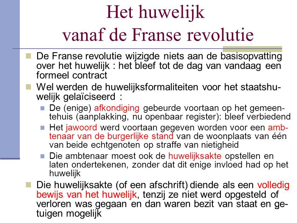 Het huwelijk vanaf de Franse revolutie