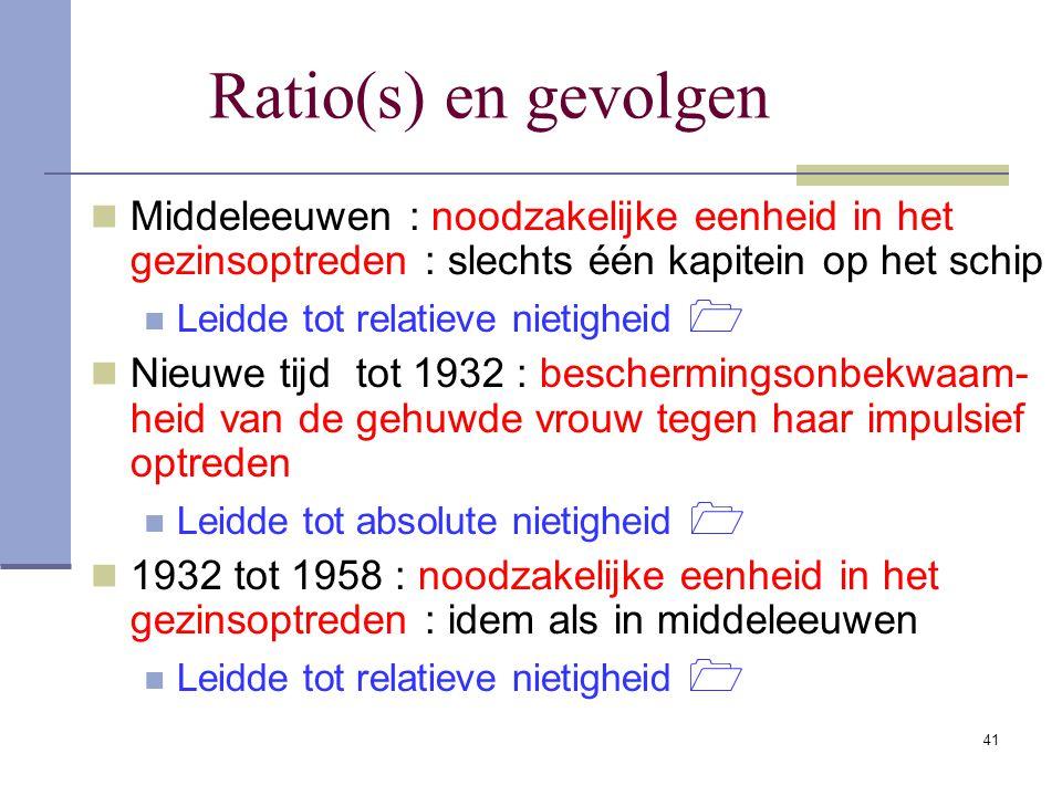 Ratio(s) en gevolgen Middeleeuwen : noodzakelijke eenheid in het gezinsoptreden : slechts één kapitein op het schip.