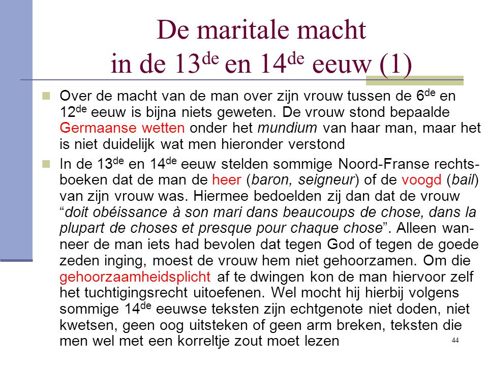 De maritale macht in de 13de en 14de eeuw (1)