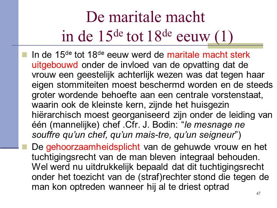 De maritale macht in de 15de tot 18de eeuw (1)