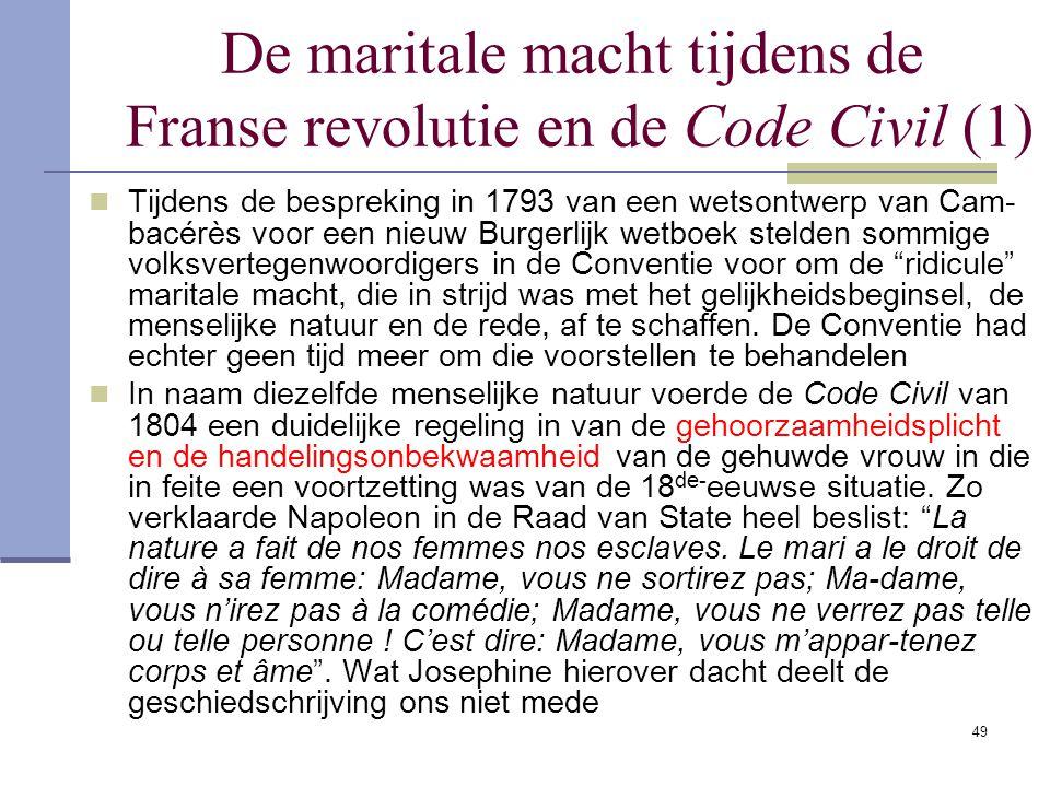 De maritale macht tijdens de Franse revolutie en de Code Civil (1)