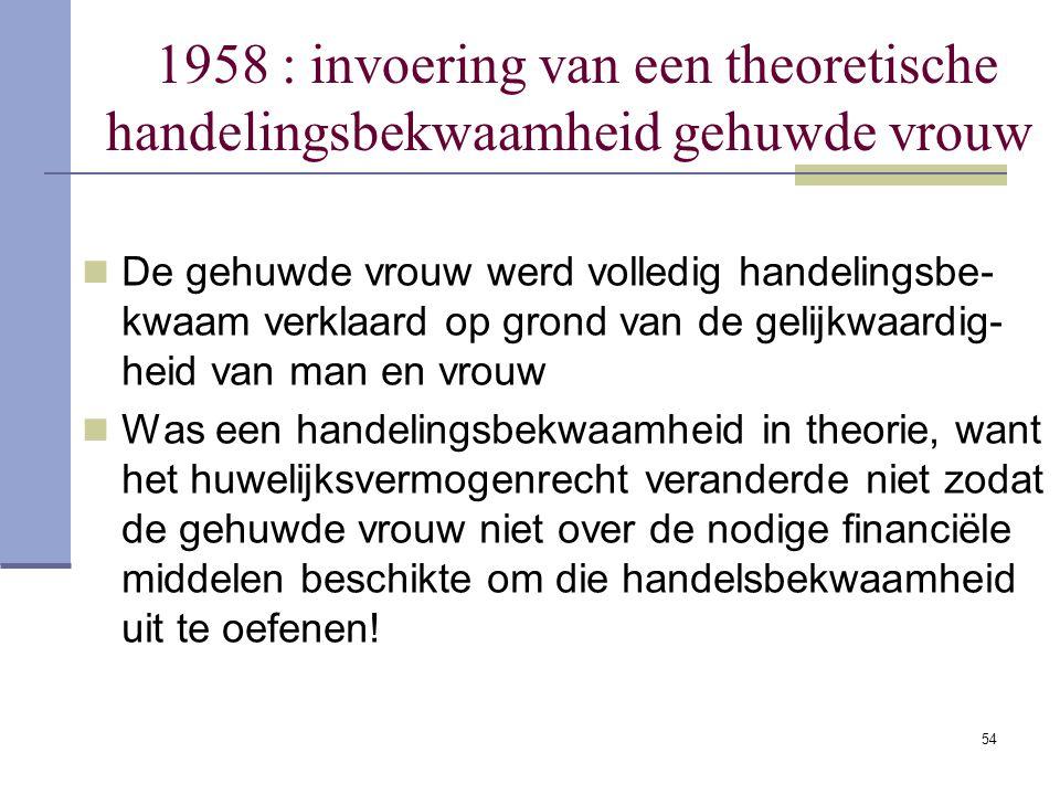 1958 : invoering van een theoretische handelingsbekwaamheid gehuwde vrouw