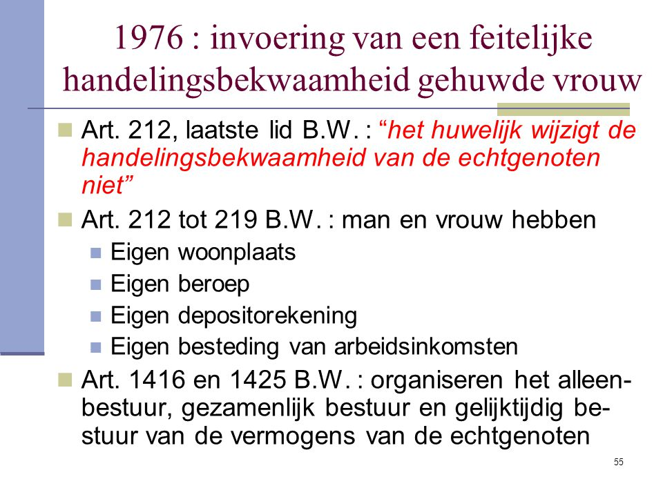 1976 : invoering van een feitelijke handelingsbekwaamheid gehuwde vrouw
