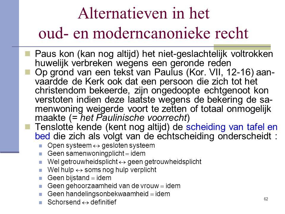 Alternatieven in het oud- en moderncanonieke recht