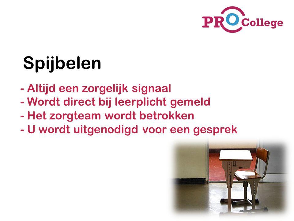 Spijbelen - Altijd een zorgelijk signaal - Wordt direct bij leerplicht gemeld - Het zorgteam wordt betrokken - U wordt uitgenodigd voor een gesprek.