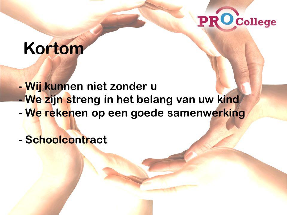Kortom - Wij kunnen niet zonder u - We zijn streng in het belang van uw kind - We rekenen op een goede samenwerking - Schoolcontract.
