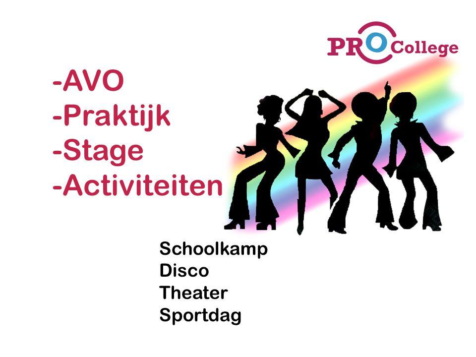 AVO Praktijk Stage Activiteiten Schoolkamp Disco Theater Sportdag