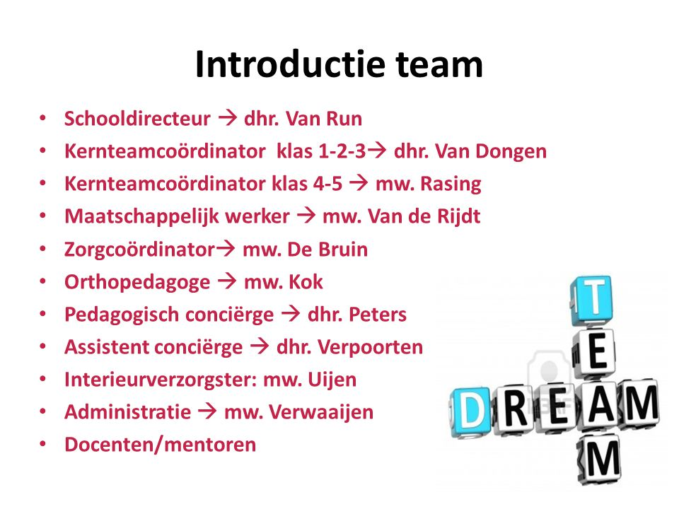 Introductie team Schooldirecteur  dhr. Van Run