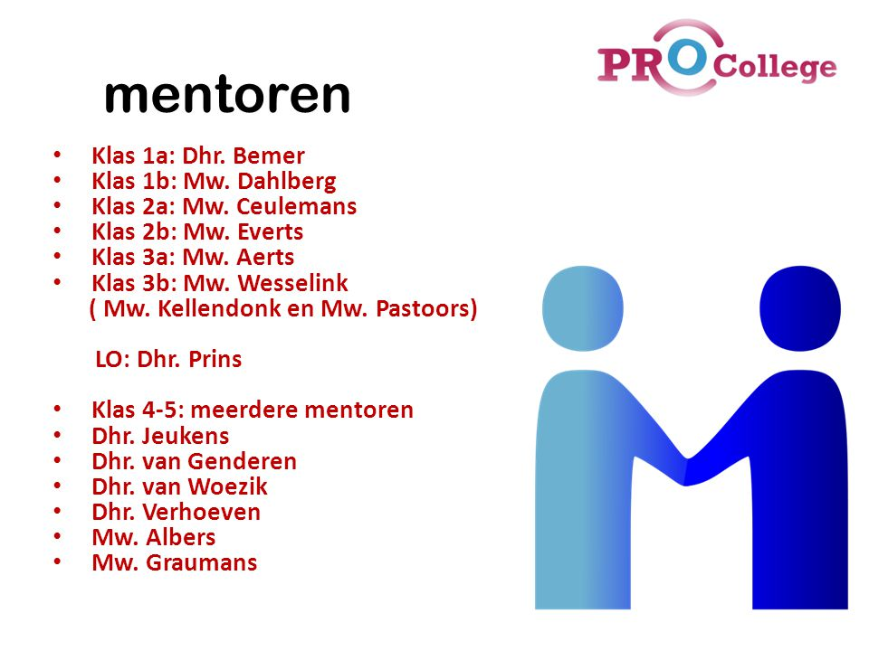 mentoren Klas 1a: Dhr. Bemer Klas 1b: Mw. Dahlberg