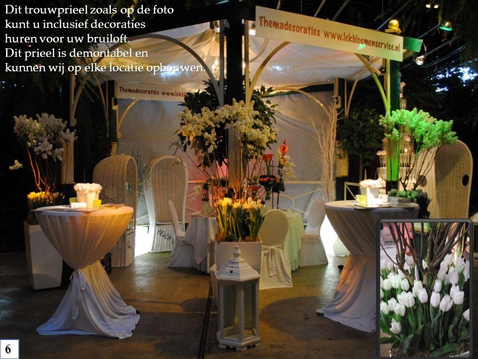Dit trouwprieel zoals op de foto kunt u inclusief decoraties huren voor uw bruiloft. Dit prieel is demontabel en kunnen wij op elke locatie opbouwen.