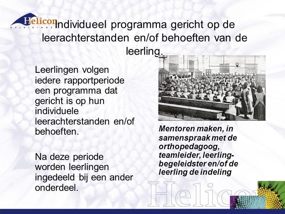 Individueel programma gericht op de leerachterstanden en/of behoeften van de leerling.