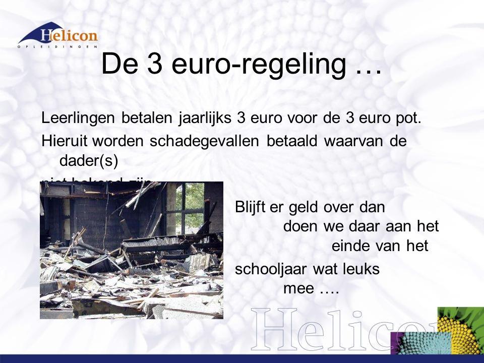 De 3 euro-regeling … Leerlingen betalen jaarlijks 3 euro voor de 3 euro pot. Hieruit worden schadegevallen betaald waarvan de dader(s)