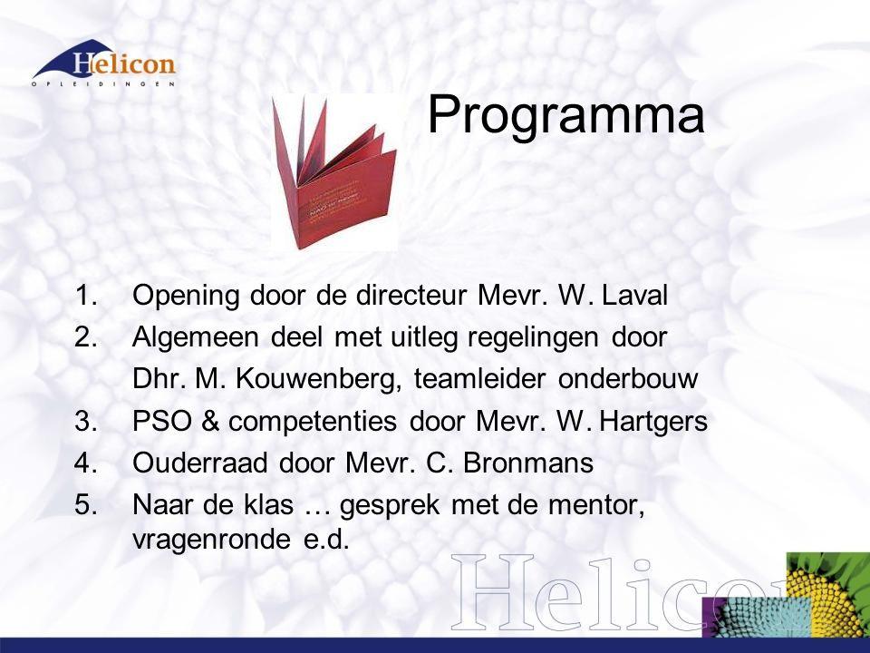 Programma Opening door de directeur Mevr. W. Laval