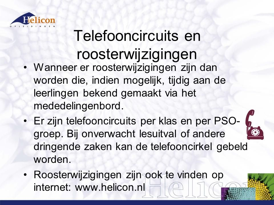 Telefooncircuits en roosterwijzigingen