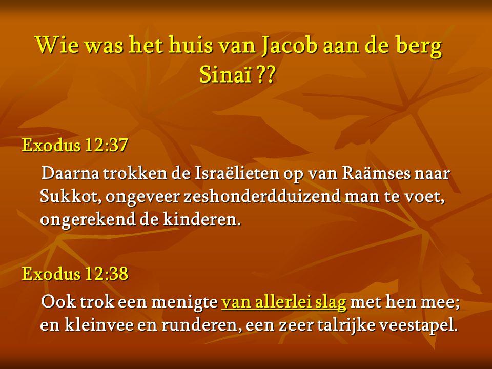 Wie was het huis van Jacob aan de berg Sinaï