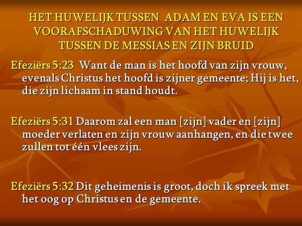 HET HUWELIJK TUSSEN ADAM EN EVA IS EEN VOORAFSCHADUWING VAN HET HUWELIJK TUSSEN DE MESSIAS EN ZIJN BRUID