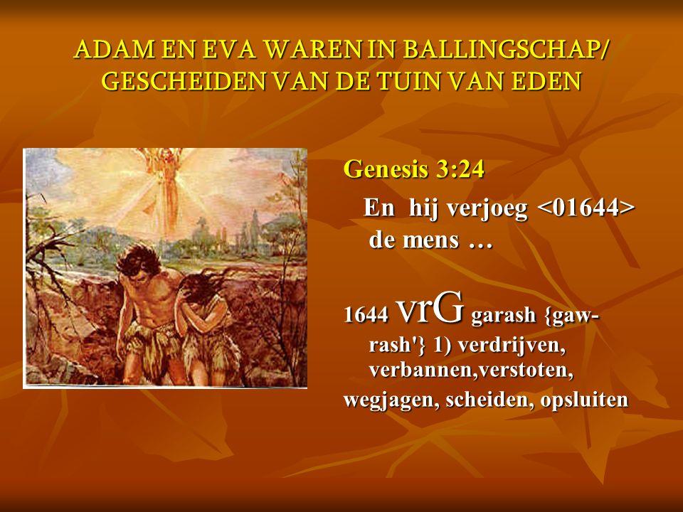 ADAM EN EVA WAREN IN BALLINGSCHAP/ GESCHEIDEN VAN DE TUIN VAN EDEN
