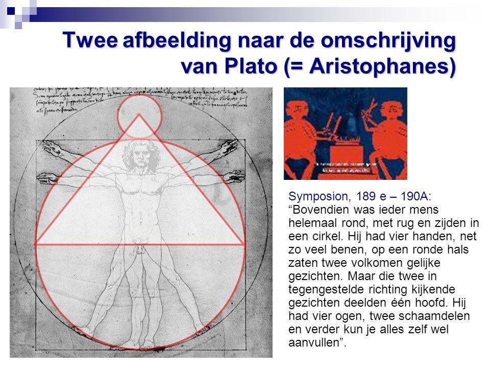 Twee afbeelding naar de omschrijving van Plato (= Aristophanes)