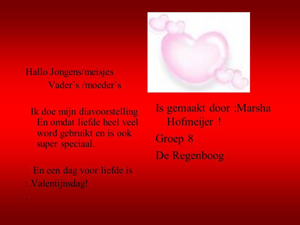 Is gemaakt door :Marsha Hofmeijer ! Groep 8 De Regenboog